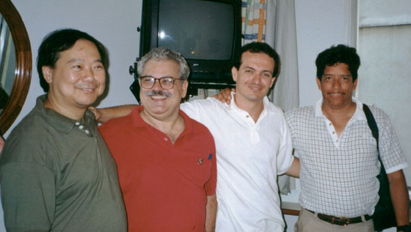 Our Brazilian Friends, Carlos and Rodrigo <br> with Frank and myself at the hotel
